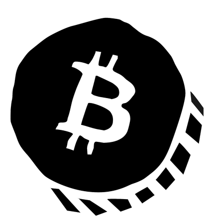 Bitcoin sign Vector illustration isolated on white background.