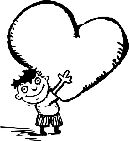 Funny boy with heart in his hands Ilustração