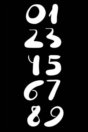 Set of calligraphic numbers. Hand drawn lettering.
