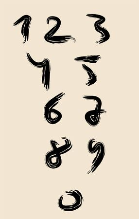 Vector set of calligraphic numbers. Hand drawn lettering.