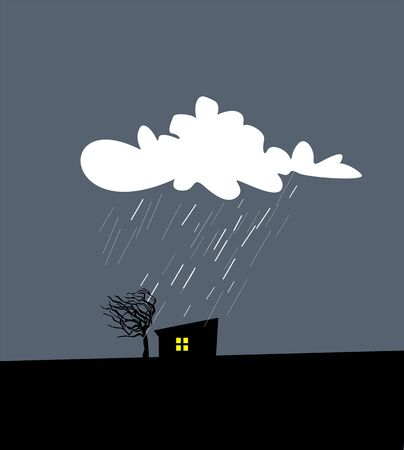 Cartoon vector illustration of rainy autumn, windy and cloudy night. Landscape with silhouette of house and tree Ilustração