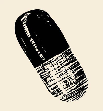 Medicine capsule, vector icon Illustration