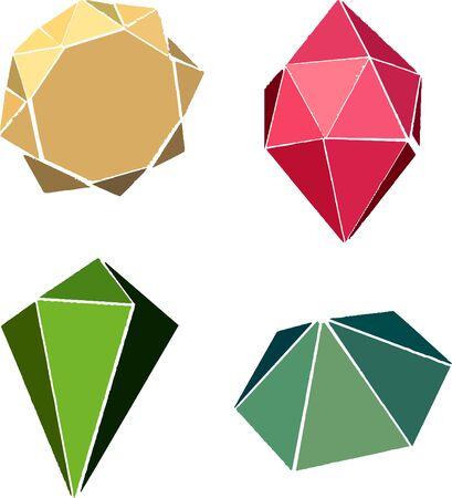 Gemstones vector icon set