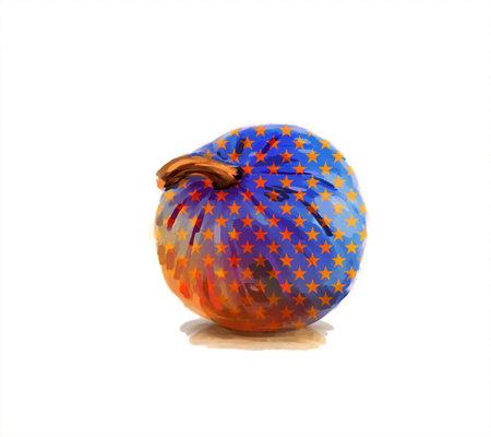 Orange pumpkin illustration with star pattern isolated on white background