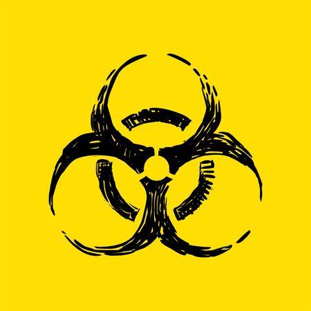 Biohazard vector icon, biological danger warning symbol Ilustração