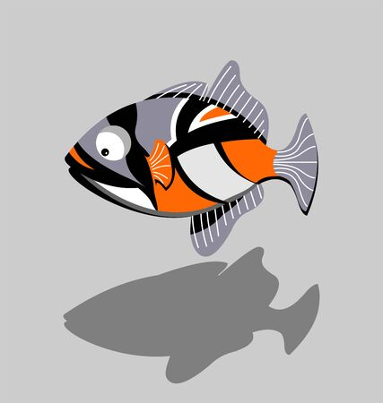 Triggerfish. Exotic fish cartoon illustration. Иллюстрация