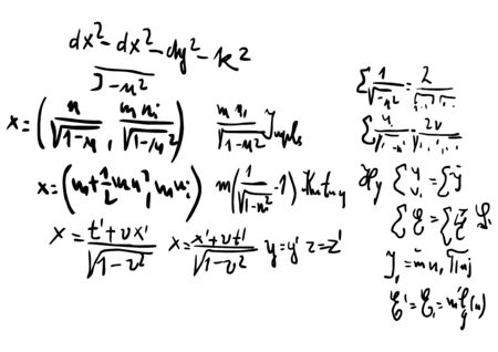 Handwritten mathematical equations. Education background.