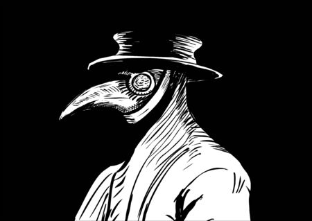 Plague doctor with bird mask and hat Illustration