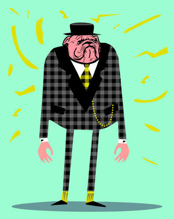 Cartoon illustration of funny man with dog head dressed up in suit