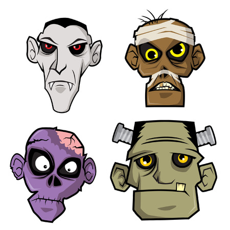 Monsters Head. Some heads of monsters popular, can be used for logos, masks or Halloween party decorations Ilustracja