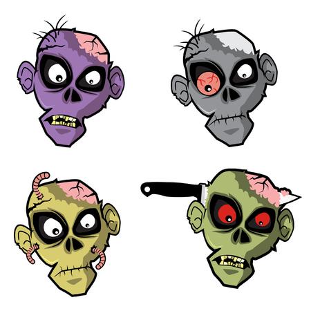 head set: Zombie Head Set Illustration