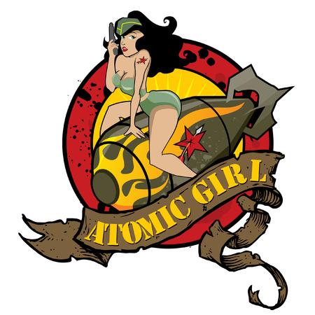menina: Atomic Garota Pin Up Ilustração
