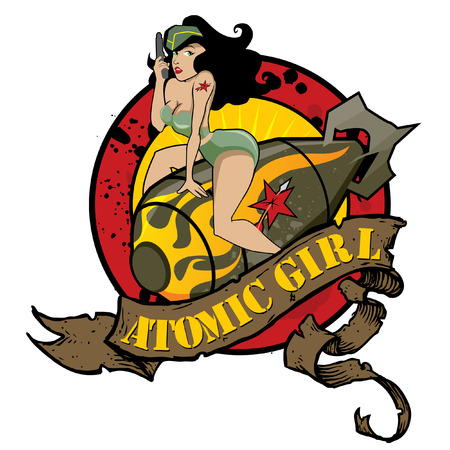 cartoon human: Atomic Girl Pin Up