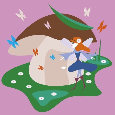 brigth: Brigth and colorful illustration of a cute fairy with butterfly in the forest, pink background