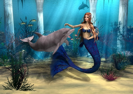 mythical: 3D digital render of a cute mermaid and dolphin on blue fantasy ocean background Stock Photo