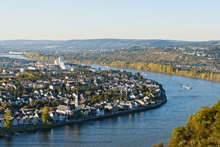 Koblenz (also Coblenz in English and Coblence in English and French), German city in Rhineland-Palatinate, situated on both banks of the Rhine at its confluence with the Moselle. Stock Photo