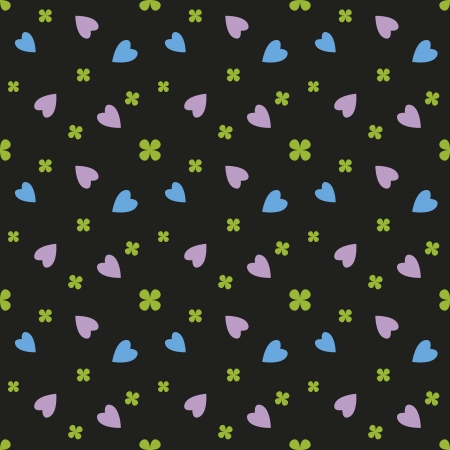 Elegant seamless pattern, purple and blue hearts and lucky green shamrocks on black background