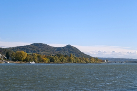 View on the river Rhein and Siebengebirge  lit   seven mountains  in German  in Bonn, Germany