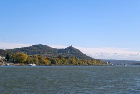 rhein: View on the river Rhein and Siebengebirge  lit   seven mountains  in German  in Bonn, Germany