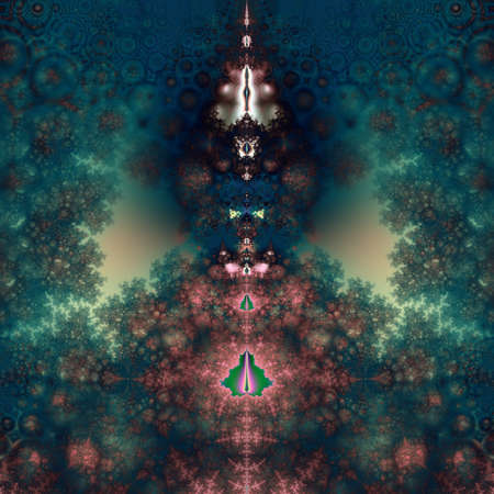 Original fractal design, abstract psychedelic art, green fairy tale Stock Photo