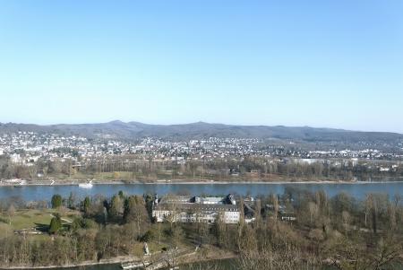 veiw: Veiw on the river Rhein and the island Nonnenwerth or Rolandswerth near Bad Honnef, Germany