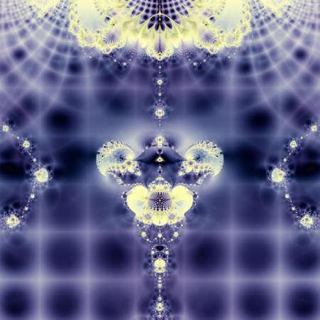 firmament: Elegant fractal design, abstract art, blue and golden sparkling firmament