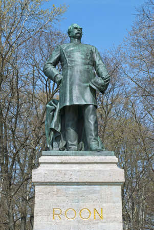 graf: Statue of Albrecht Graf von Roon, near the Berlin Victory Column in the Tiergarten, Berlin, Germany Stock Photo