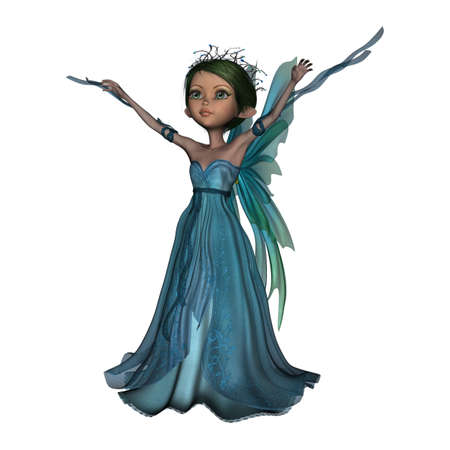 elven: 3D digital render of a little fantasy faery isolated on white background Stock Photo