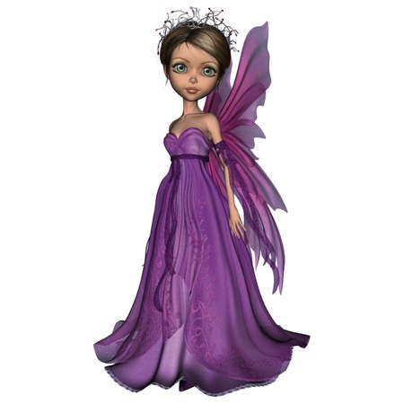 3D digital render of a little fantasy fairy isolated on white background