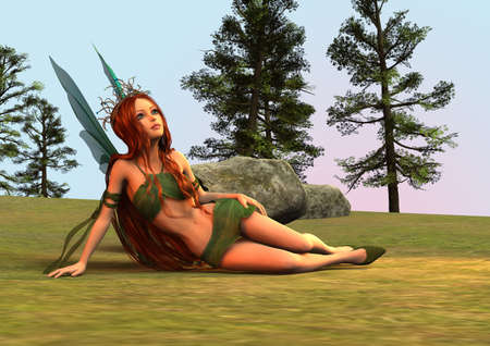 elven: 3D digital render of a beautiful fairy resting in a fantasy woodland