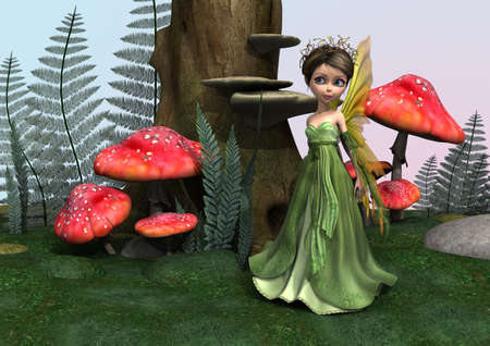fairy toadstool: Little cute Fairy in a fantasy woodland Stock Photo