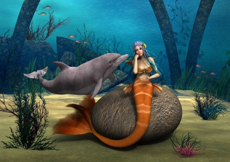 3D digital render of a beautiful sad mermaid sitting on a stone and a cute dolphin on blue fantasy ocean background