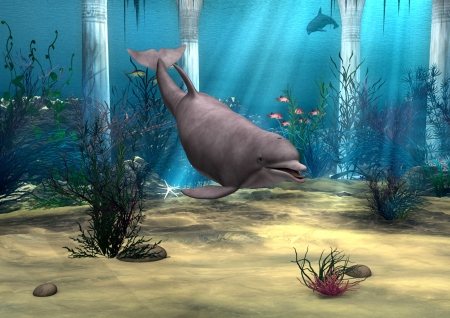 3D digital render of a cute dolphin on blue fantasy ocean background