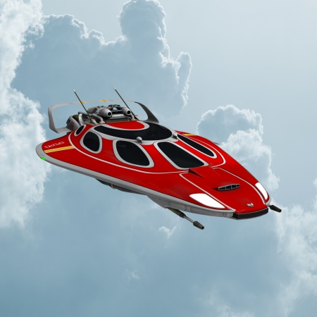 3D digital render of a red spaceship isolated on blue sky background