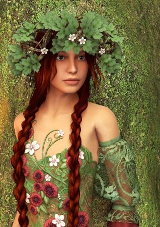 3D digital render of a beautiful fantasy summer girl on green tree background