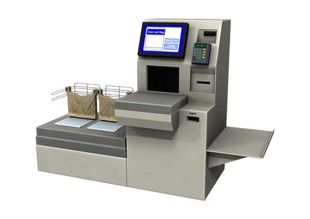 흰색 배경에 고립 된 빠른 확인 차선의 3D 디지털 렌더링