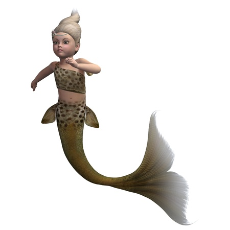 3D digital render of a little cute baby mermaid isolated on white background