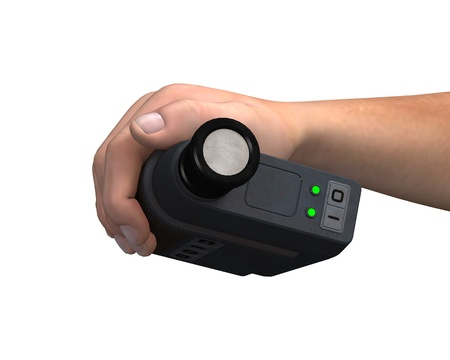 3D digital render of a mans hand holding a video camera isolated on white background