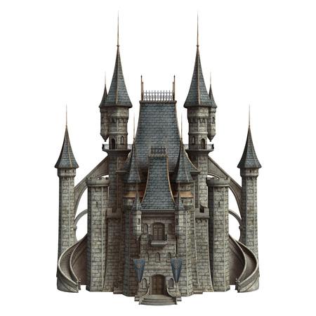 3D digital render of a fairytale castle isolated on white background Reklamní fotografie