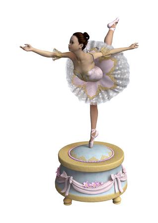 흰색 배경에 고립 된 빈티지 뮤직 박스에 아름 다운 여성 발레 댄서의 3D 디지털 렌더링 스톡 콘텐츠