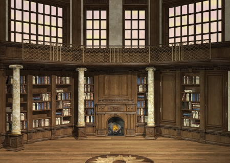 3D digital render of an antique library with lots of books and a fireplace Stock Photo
