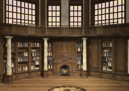 3D digitale render van een antieke bibliotheek met veel boeken en een open haard Stockfoto
