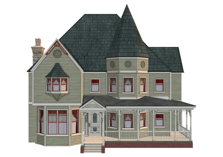 3D digital render of a beautiful Victorian house isolated on white background 版權商用圖片