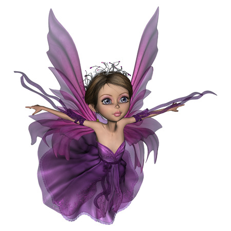 3D digital render of a beautiful flying little fairy butterfly isolated on white
