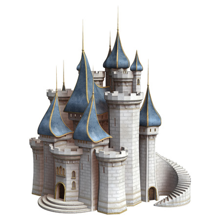 3D digital render of a fairytale castle isolated on white background Stock Photo