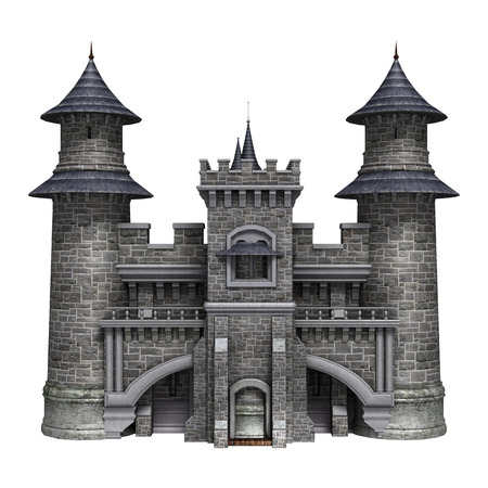 3D digital render of a fairytale castle isolated on white background 版權商用圖片