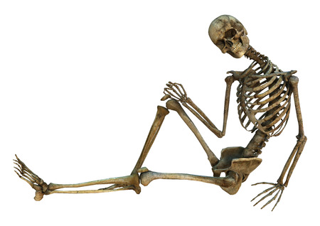 3D digital render of an old human sitting and smiling skeleton isolated on white background