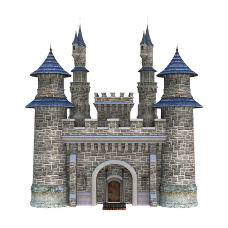 3D digital render of a fairytale castle isolated on white background Standard-Bild