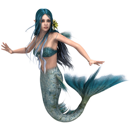 3d digital render of a cute mermaid with blue hair isolated on white