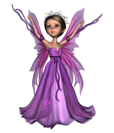 3D digital render of a beautiful flying little fairy butterfly isolated on white background